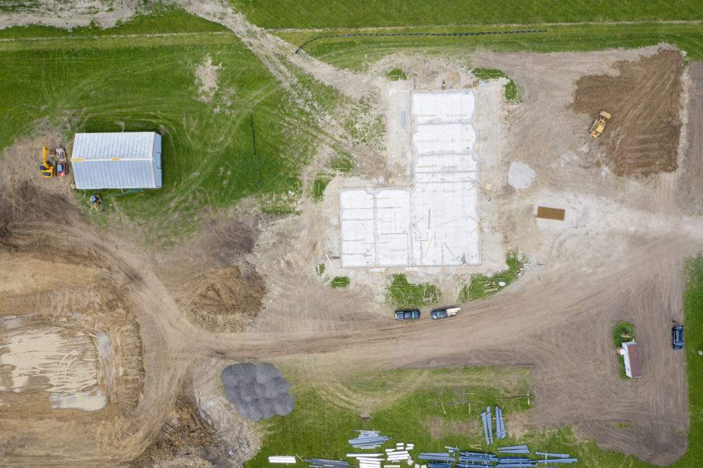 Top down shot of site